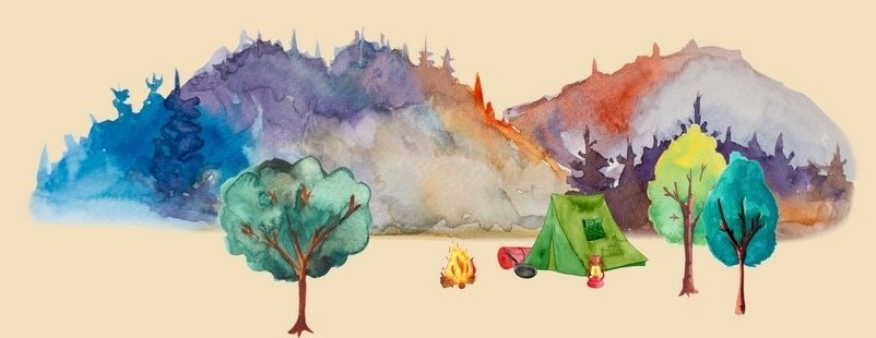 Watercolor mountains and tent camping